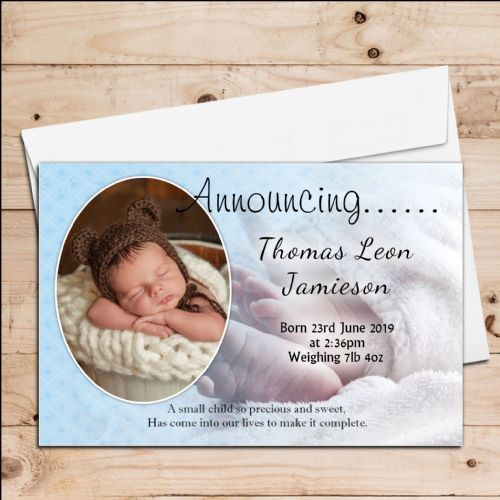 10 Personalised Baby Boy Birth Announcement Thank You PHOTO cards N94